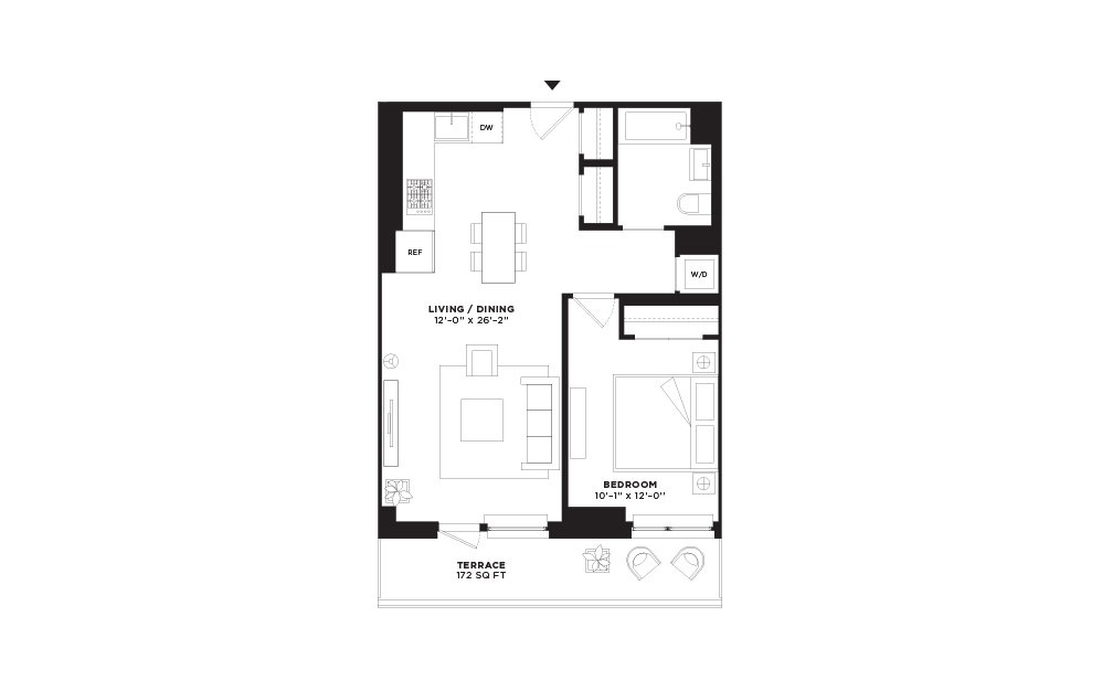 N.313 - 1 bedroom floorplan layout with 1 bath and 684 square feet.