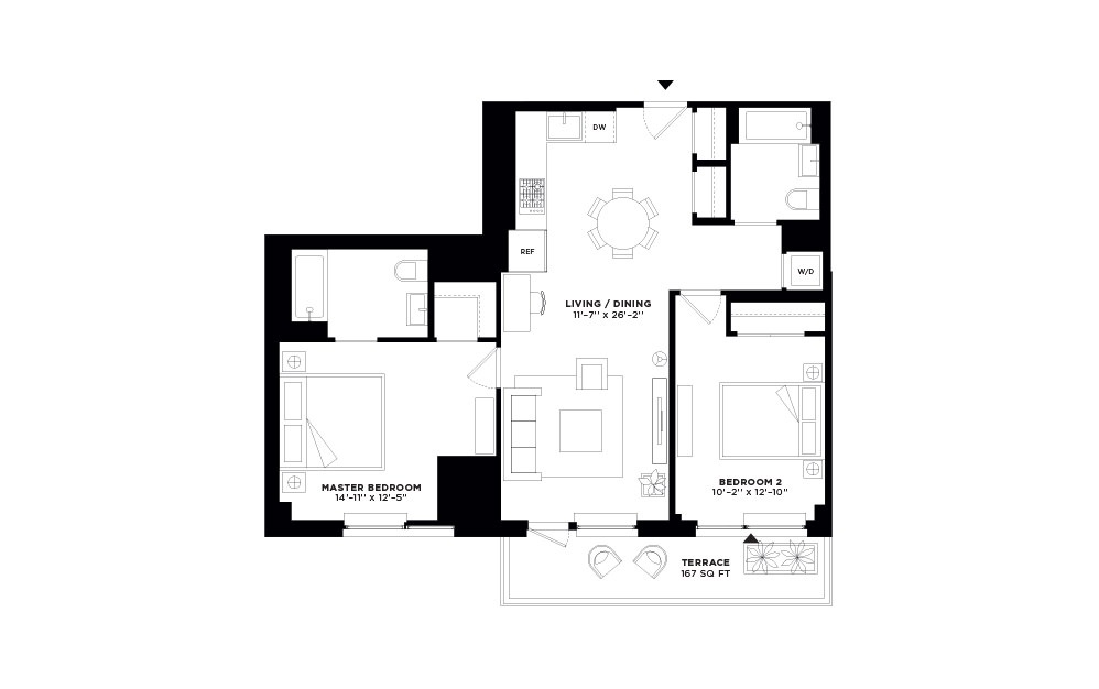N/S.314 - 2 bedroom floorplan layout with 2 baths and 1024 to 1040 square feet.