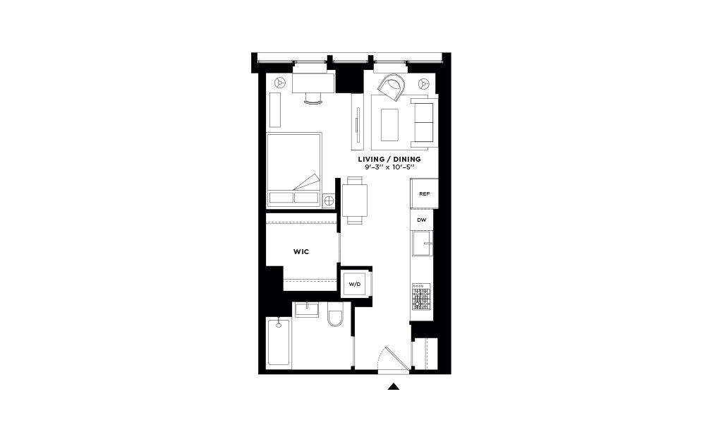 N.315 - Studio floorplan layout with 1 bath and 532 square feet.