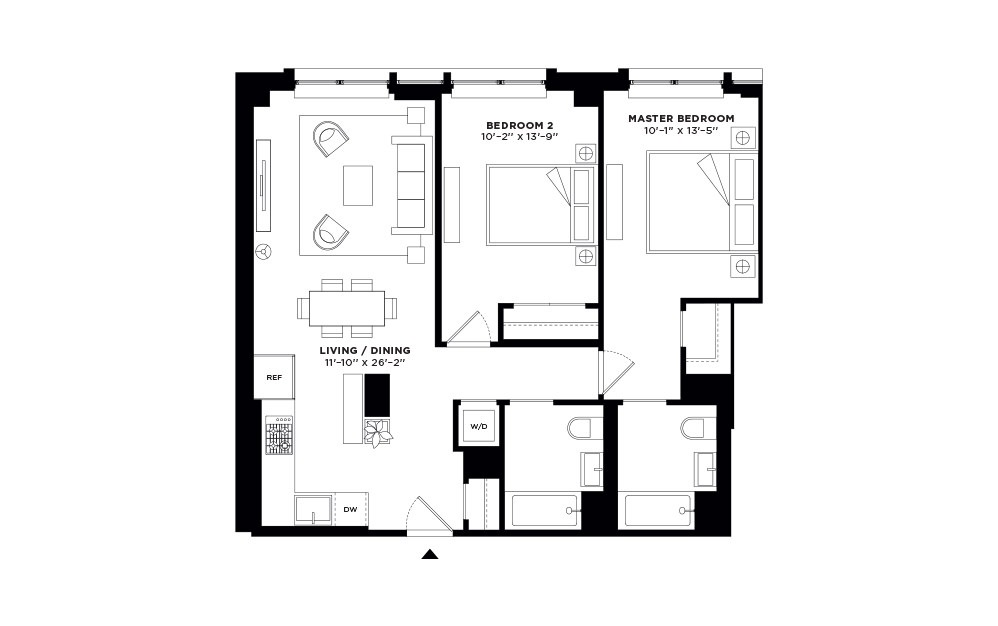 N/S.401-N/S.501 - 2 bedroom floorplan layout with 2 baths and 992 to 997 square feet.