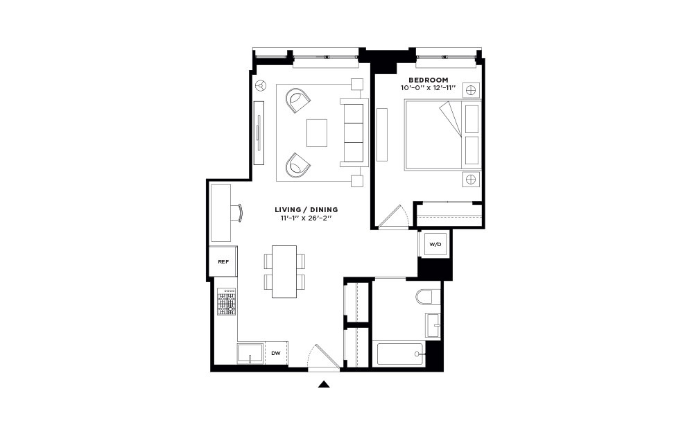 N/S.403-N/S.503 - 1 bedroom floorplan layout with 1 bath and 682 to 683 square feet.