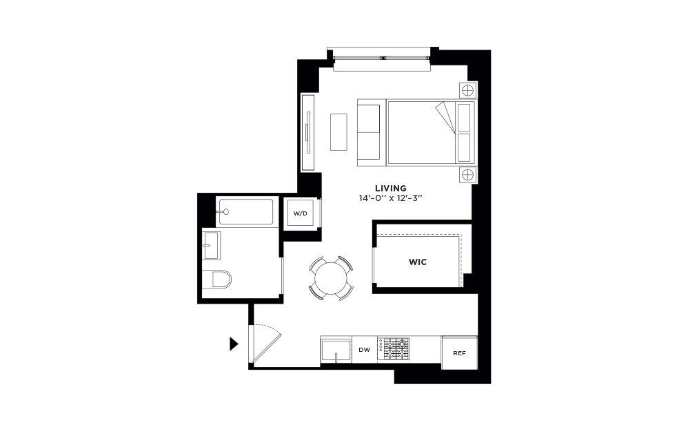 N/S.405 - Studio floorplan layout with 1 bath and 481 square feet.
