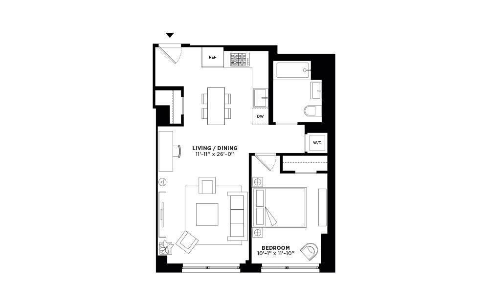N/S.406 - 1 bedroom floorplan layout with 1 bath and 695 square feet.