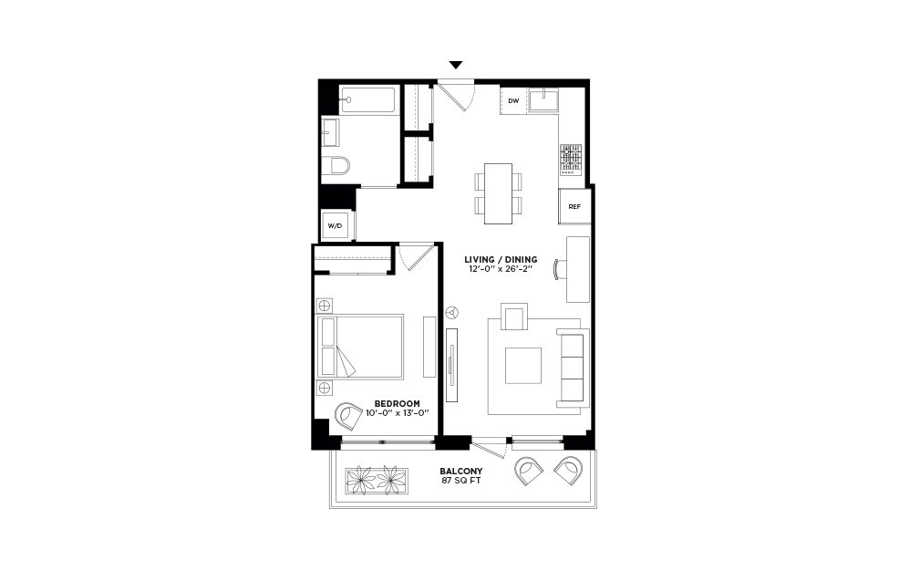 N/S.407-N/S.506 - 1 bedroom floorplan layout with 1 bath and 679 to 681 square feet.