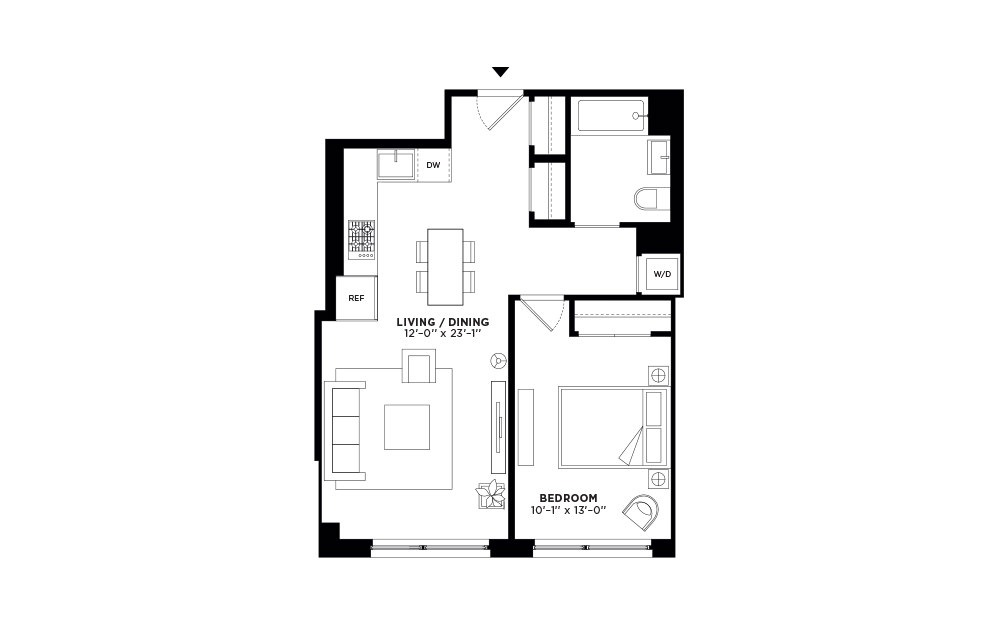 N/S.408-N/S.507 - 1 bedroom floorplan layout with 1 bath and 660 to 661 square feet.