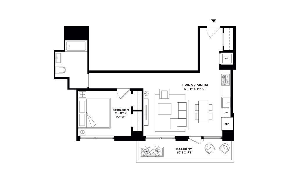 N/S.409-N/S.508 - 1 bedroom floorplan layout with 1 bath and 695 to 696 square feet.