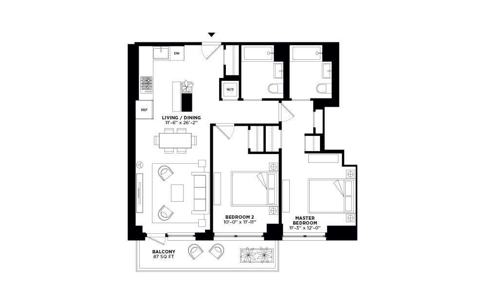 N/S.410 - 2 bedroom floorplan layout with 2 baths and 967 to 971 square feet.