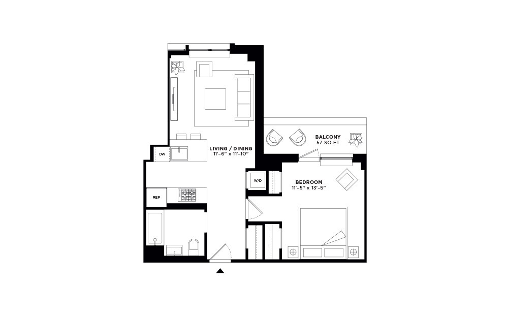 N/S.504 - 1 bedroom floorplan layout with 1 bath and 660 to 664 square feet.