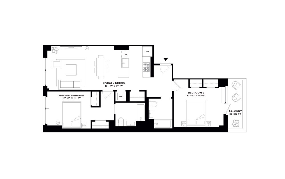 N/S.505 - 2 bedroom floorplan layout with 2 baths and 1014 square feet.