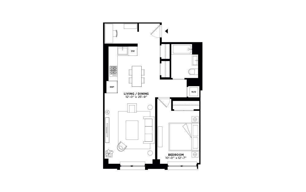 S.201 - 1 bedroom floorplan layout with 1 bath and 787 square feet.
