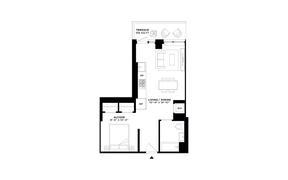 S.313 - Studio floorplan layout with 1 bath and 555 square feet.